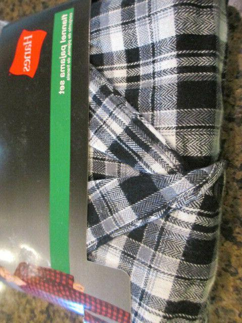 Hanes Mens Pajama Long Plaid Gray NWT