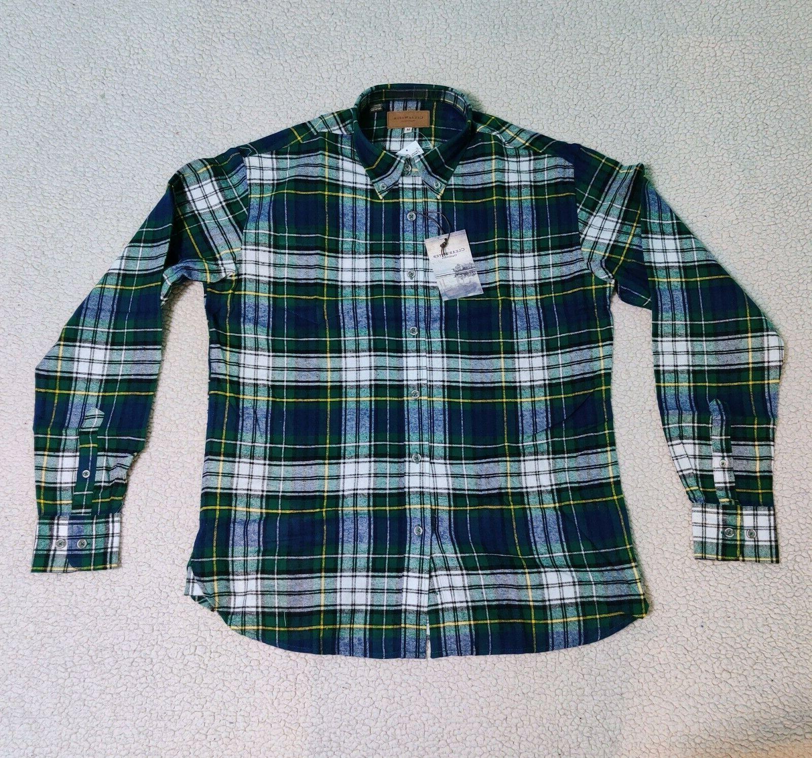Mens Soft Plaid Flannel Long Up Shirts M