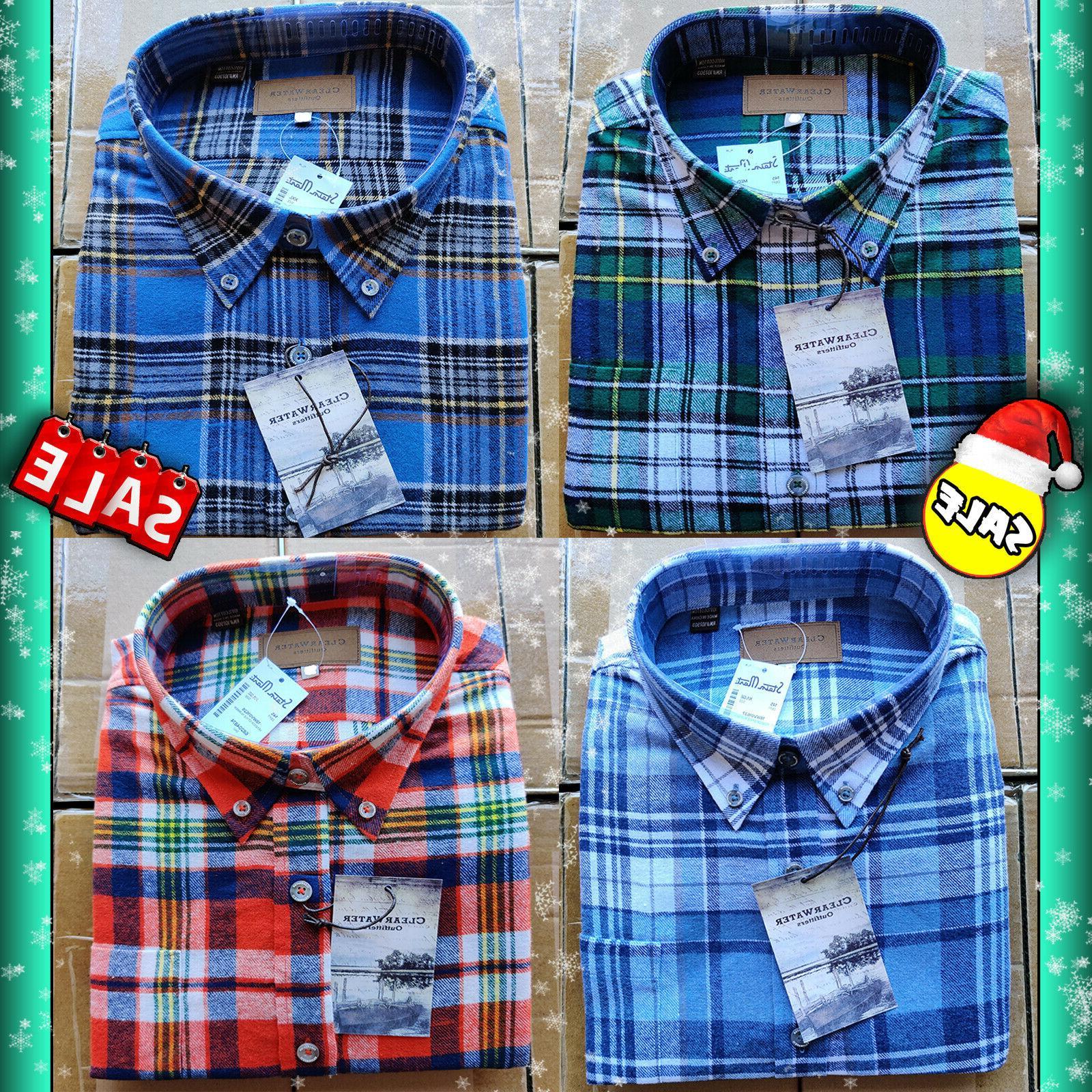 mens soft cotton plaid flannel long sleeve