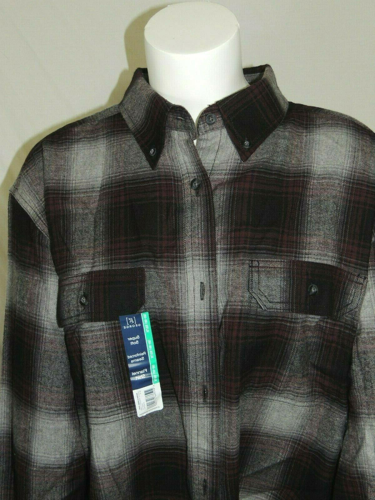Mens Super FLANNEL Button Up Plaid Size 46-48 XL George