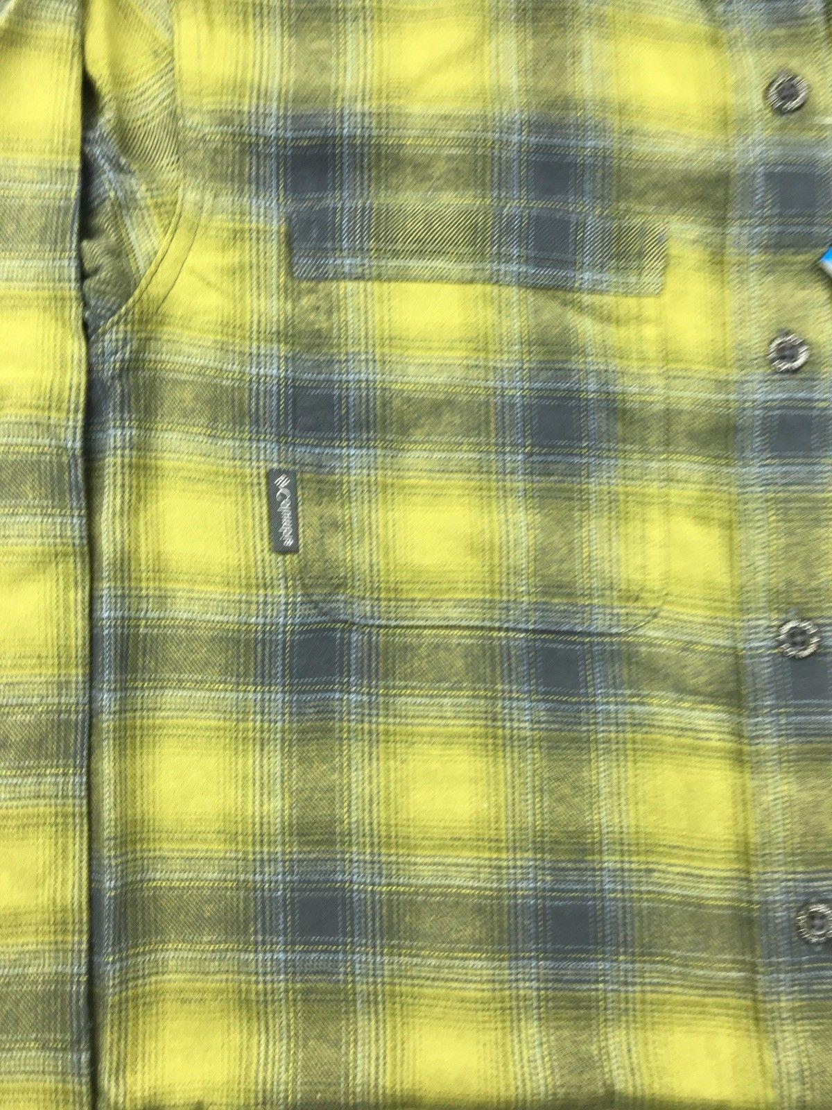 Columbia Mens Yellow Plaid Ridge Brushed