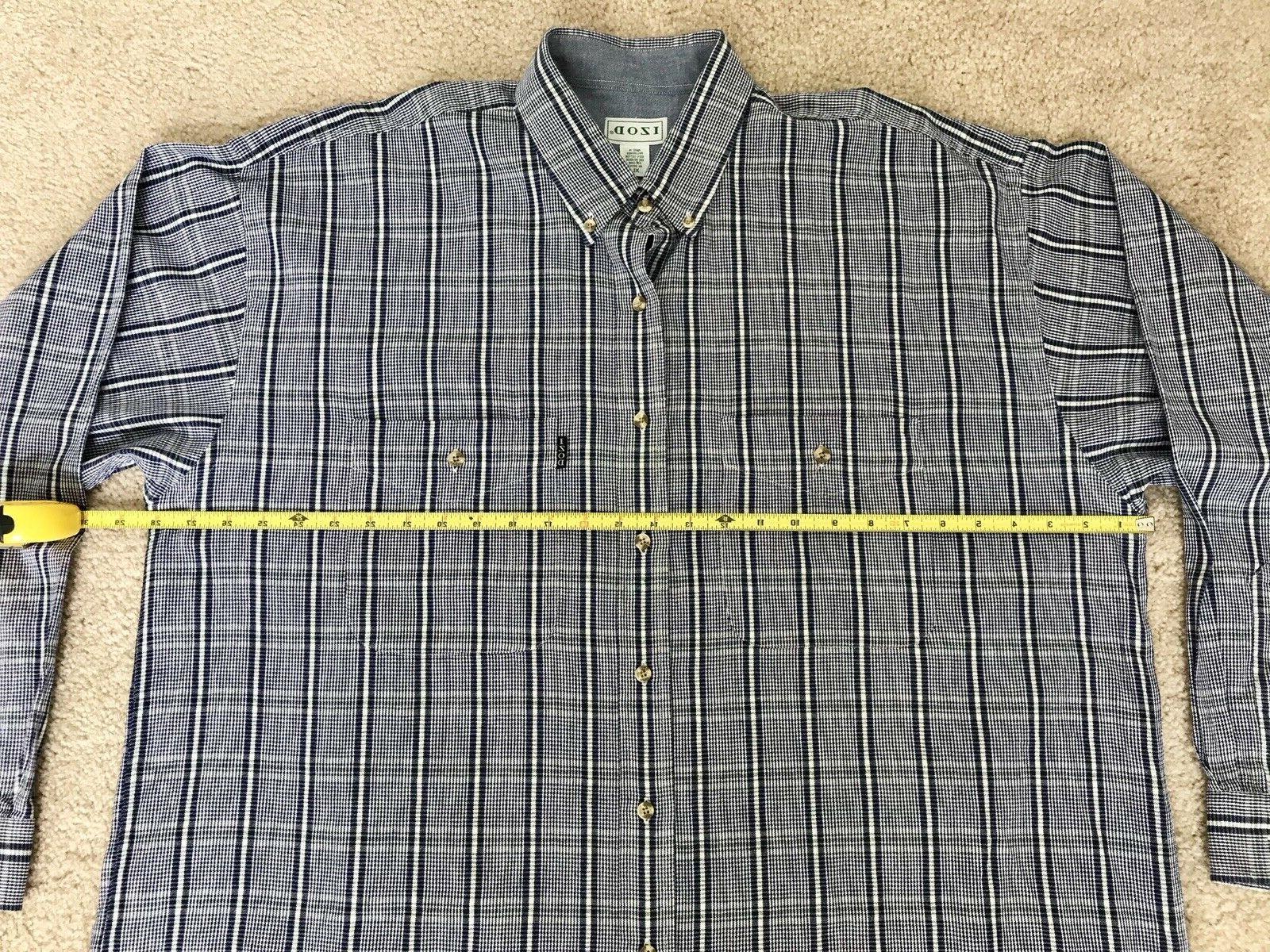 Izod Mens xl Long Sleeve ls Flannel shirt Cotton Blue Green Plaid euc