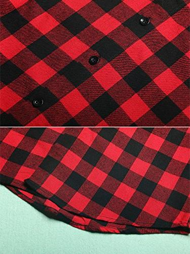 Women's Mid-Long Sleeve Plaid Flannel G056 XS