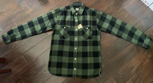 momotaro 11oz heavy flannel work shirt olive