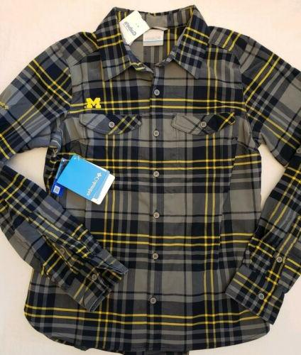 ncaa ed michigan wolverines embroidered womens flannel