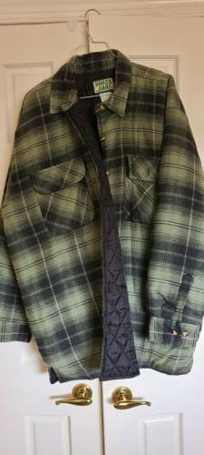 New 2XL Ozark Trail Quilted Lined Green Black Plaid Flan