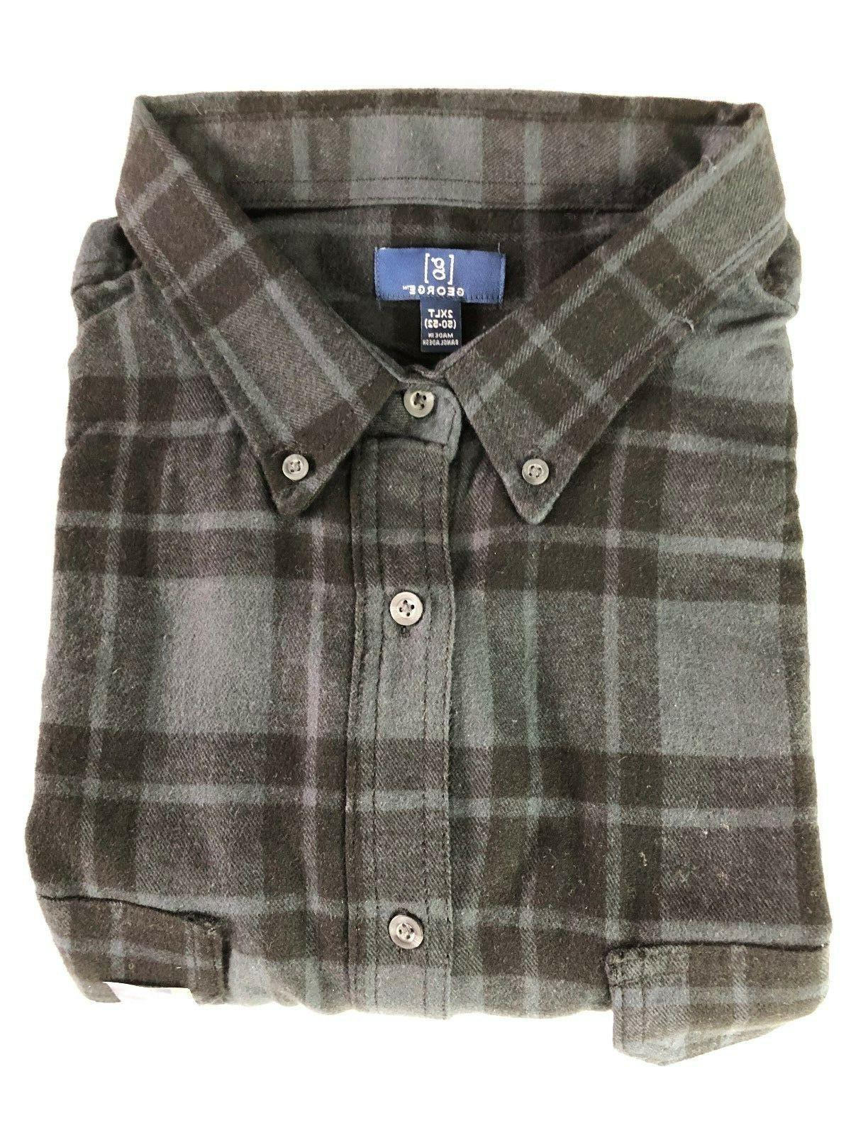 NEW GEORGE 2XLT FLANNEL SHIRT BUTTON COTTON