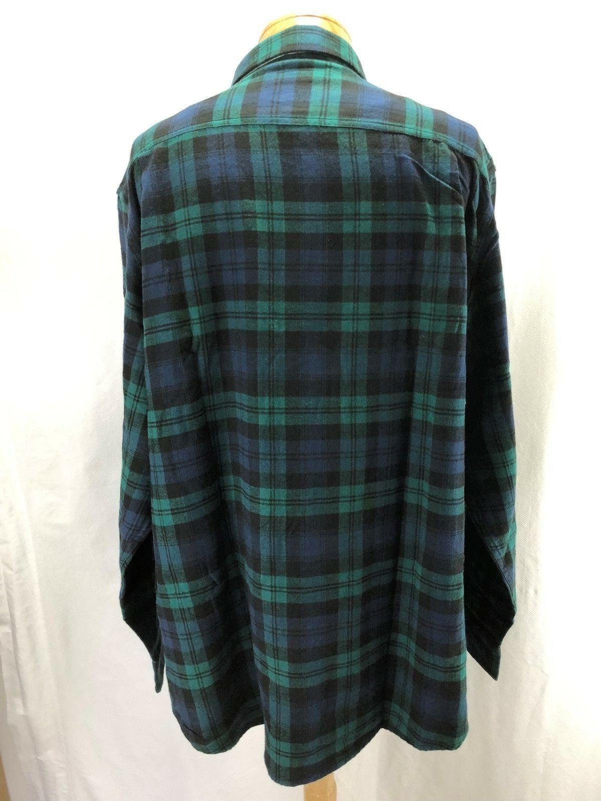 NEW FLANNEL BUTTON DOWN COTTON NAVY/GREEN