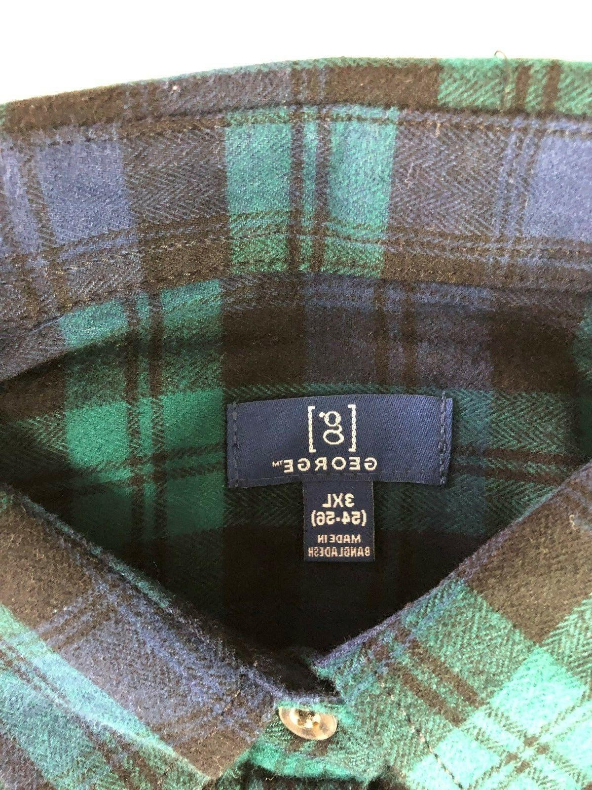 NEW GEORGE 3XL FLANNEL COTTON NAVY/GREEN