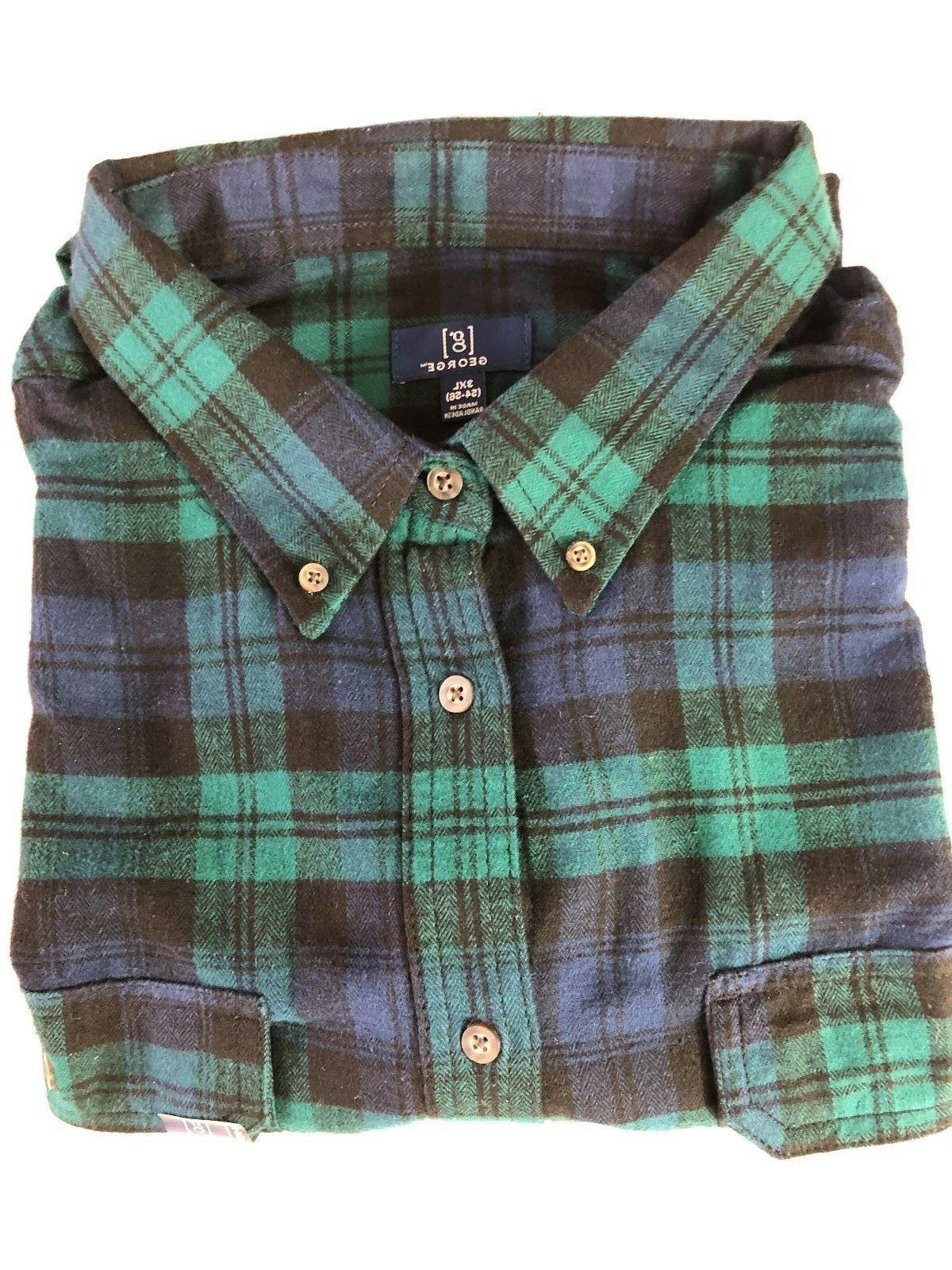NEW GEORGE 3XL PLAID FLANNEL SHIRT BUTTON DOWN COTTON NAVY/GREEN