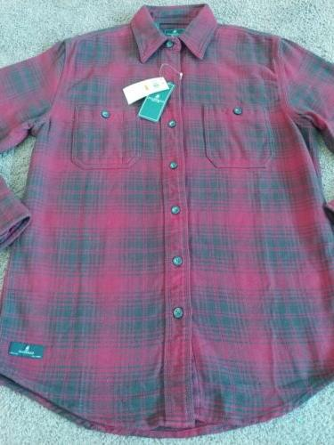 New G.H. Bass Co Mens Small Red Plaid Button Long