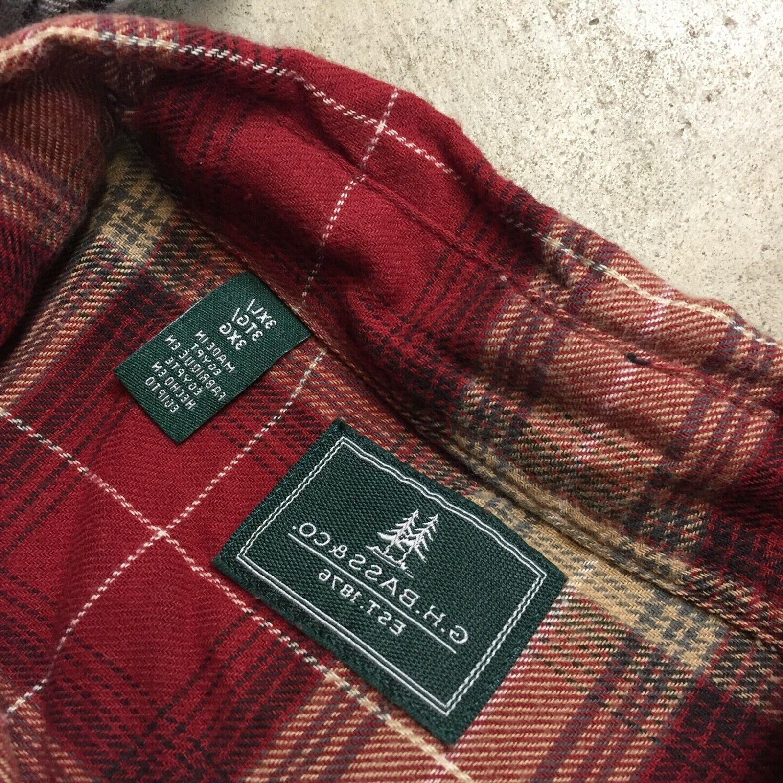 NEW lot of mens G.H. BASS button up shirts flannel 12