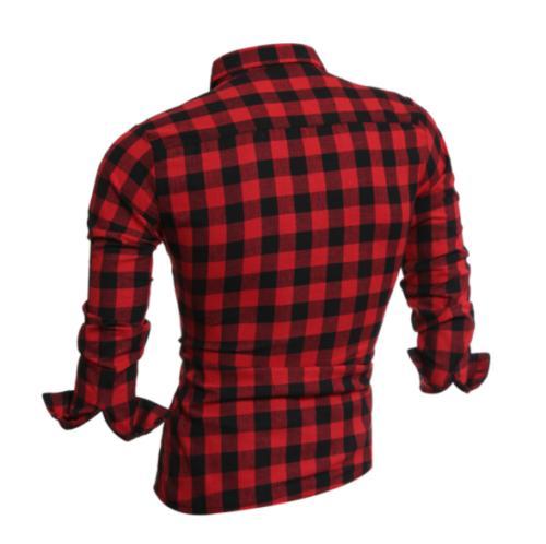New Men Long Flannel Check Cotton Shirt