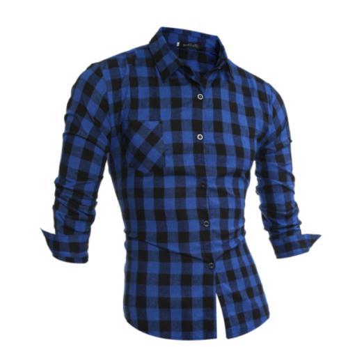 Men's Casual Work Flannel Plaid Shirt Top
