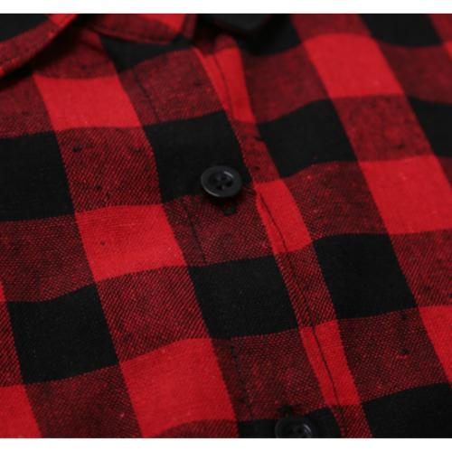 New Sleeve Flannel Casual Check Print Cotton Work Shirt