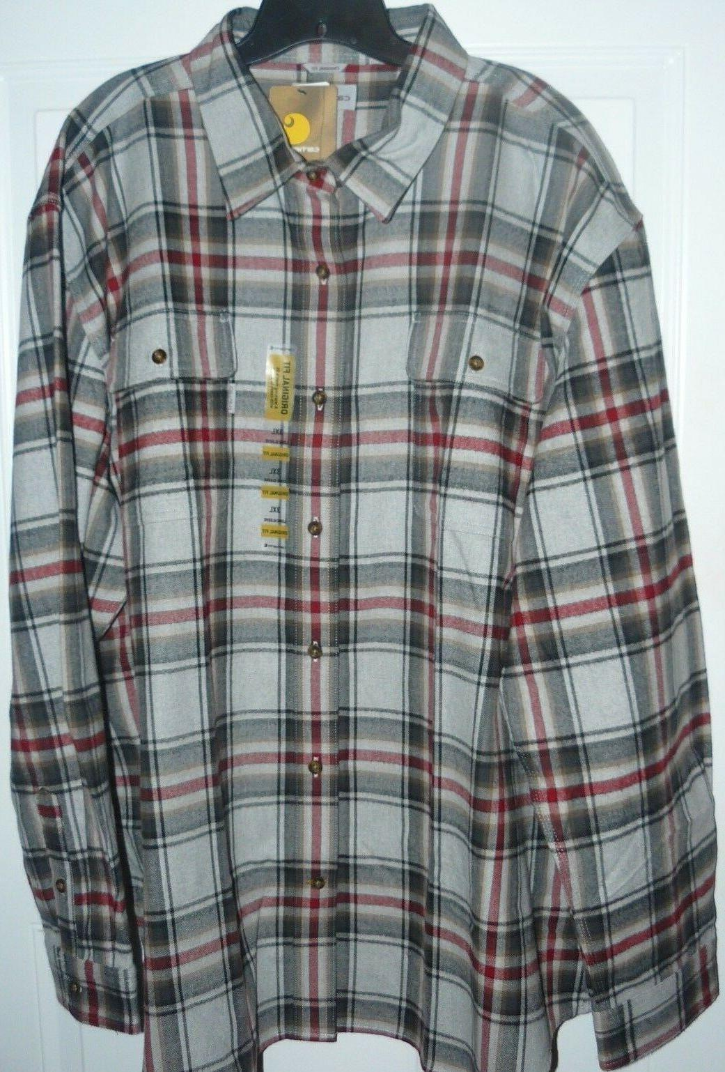 NEW Men's 4XL Carhartt Hubbard Plaid Shirt Flannel  4X