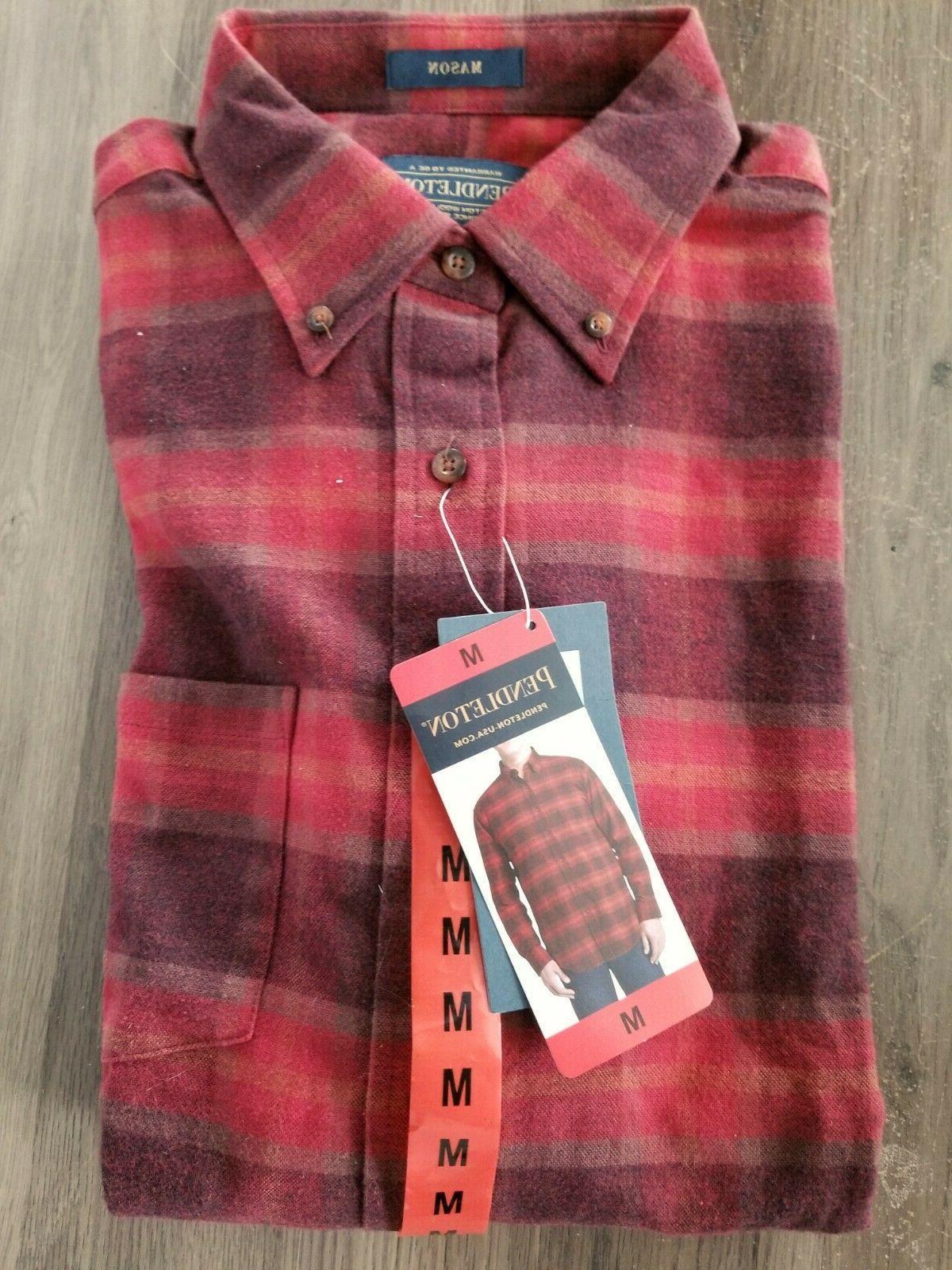 New Men's Flannel Shirt Wine Lister Plaid CHOOSE