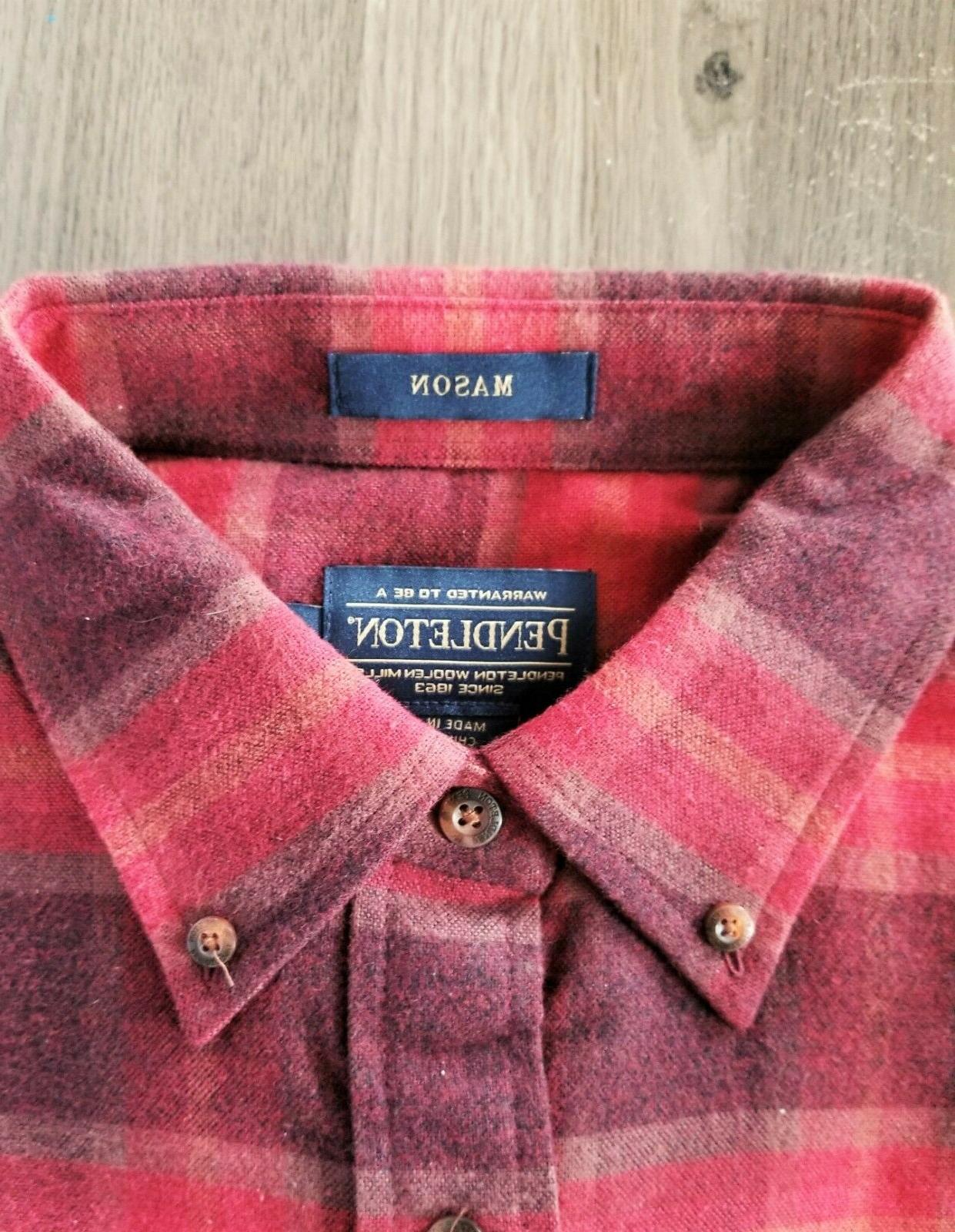 New Flannel Red Wine Lister Plaid CHOOSE SIZE