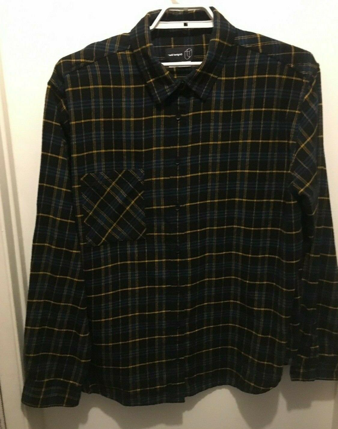 new mens black plaid long sleeve flannel