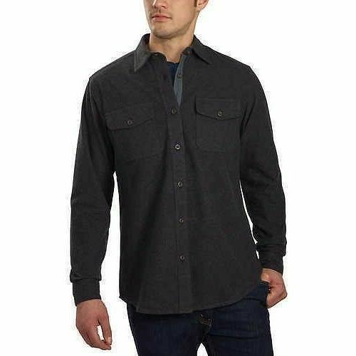 new mens flannel chamois shirt charcoal small