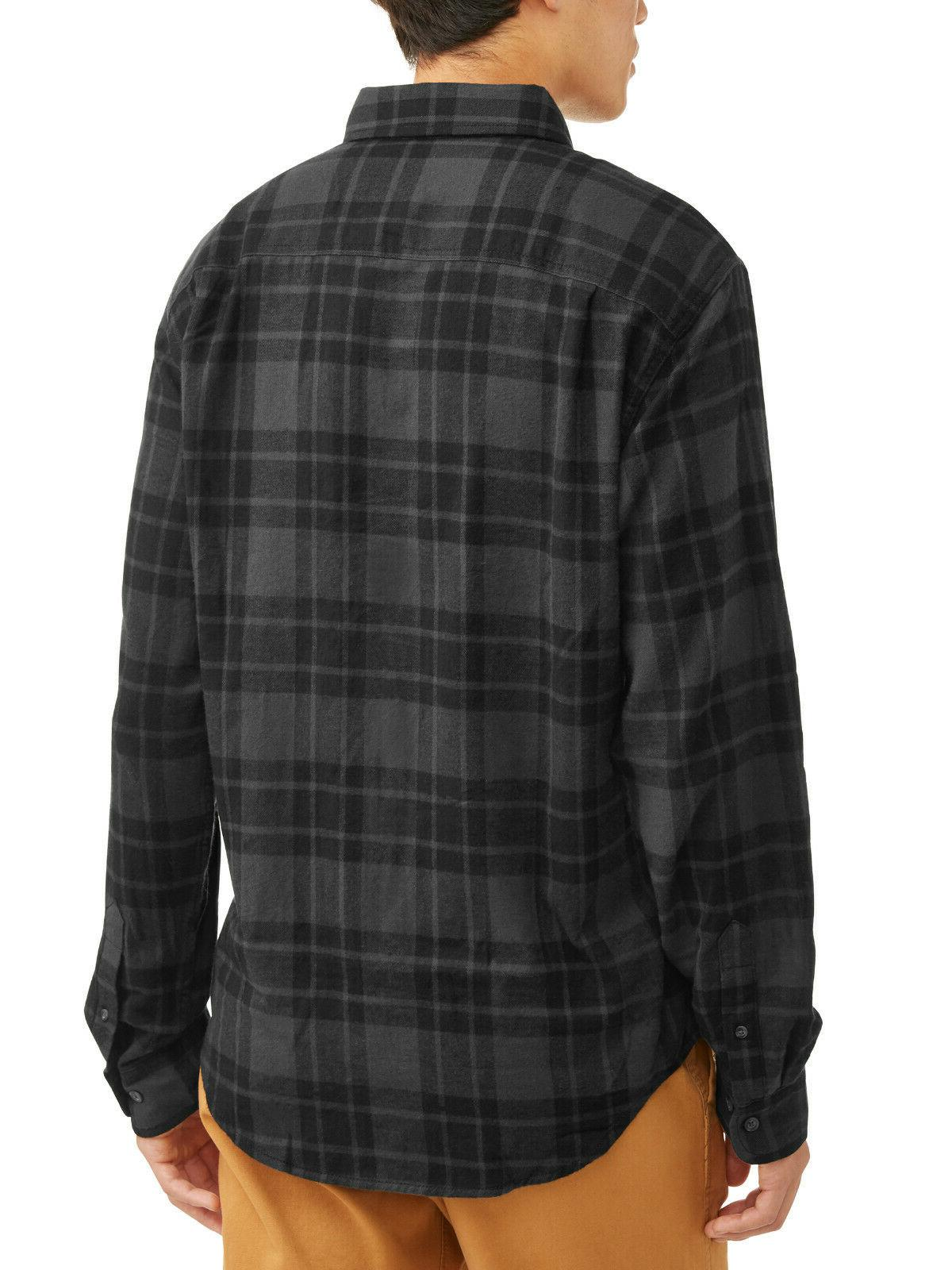 NEW Mens George Gray Plaid Cotton Flannel Button Shirt Large