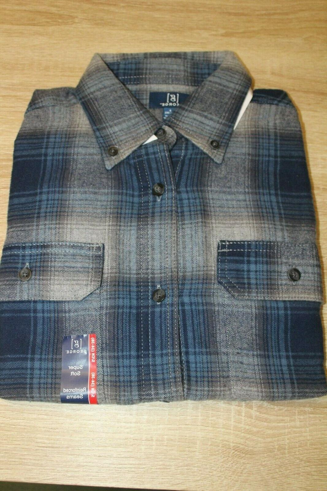 NEW George Flannel Shirt Size Button Long Choose Color