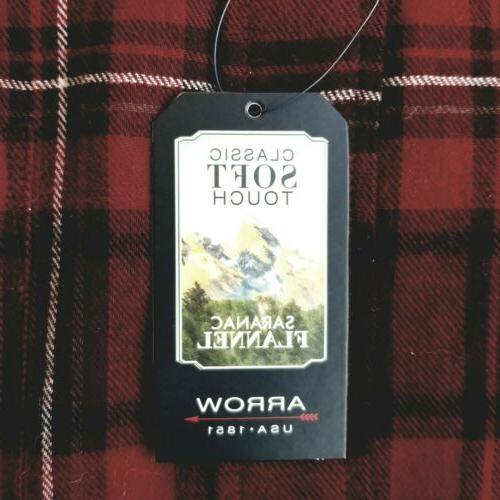 New Mens Saranac Flannel Long Button Gray Plaid