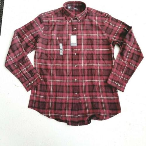 New Arrow 1851 Mens Saranac Flannel Long Sleeve Button Down