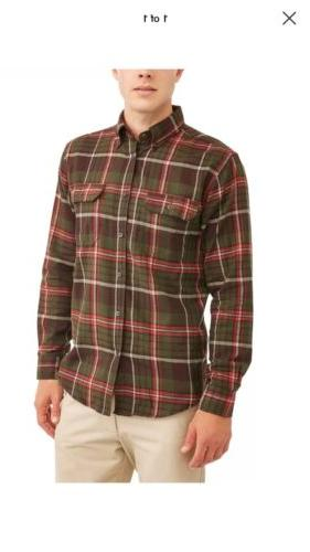 NEW George Green Plaid Flannel Shirt Long Sleeve Warm