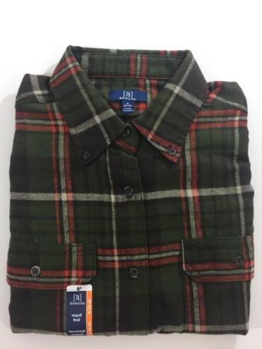 new military green plaid flannel shirt long