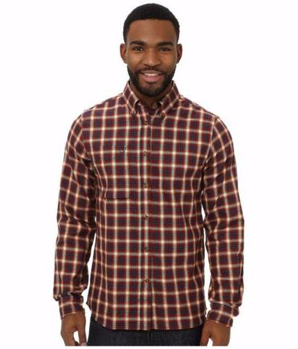 new stig flannel button shirt navy red