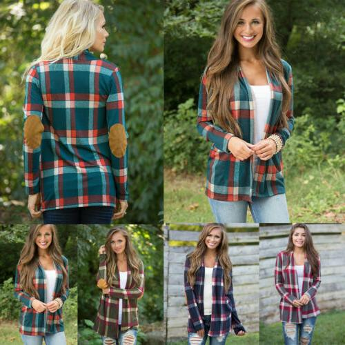 Womens Autumn Flannel Long Sleeve Loose Cardigan Blouse Coat