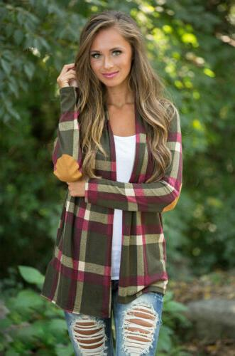 Womens Flannel Long Shirts Loose Cardigan