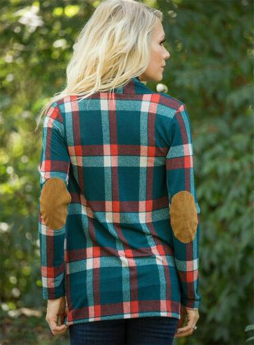 Womens Autumn Plaid Long Shirts Loose Cardigan Blouse Coat