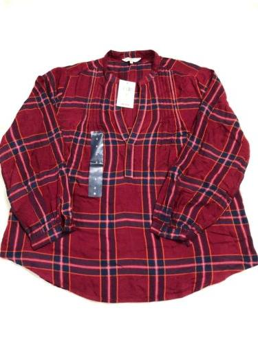 nwt flannel shirt womens red plaid size