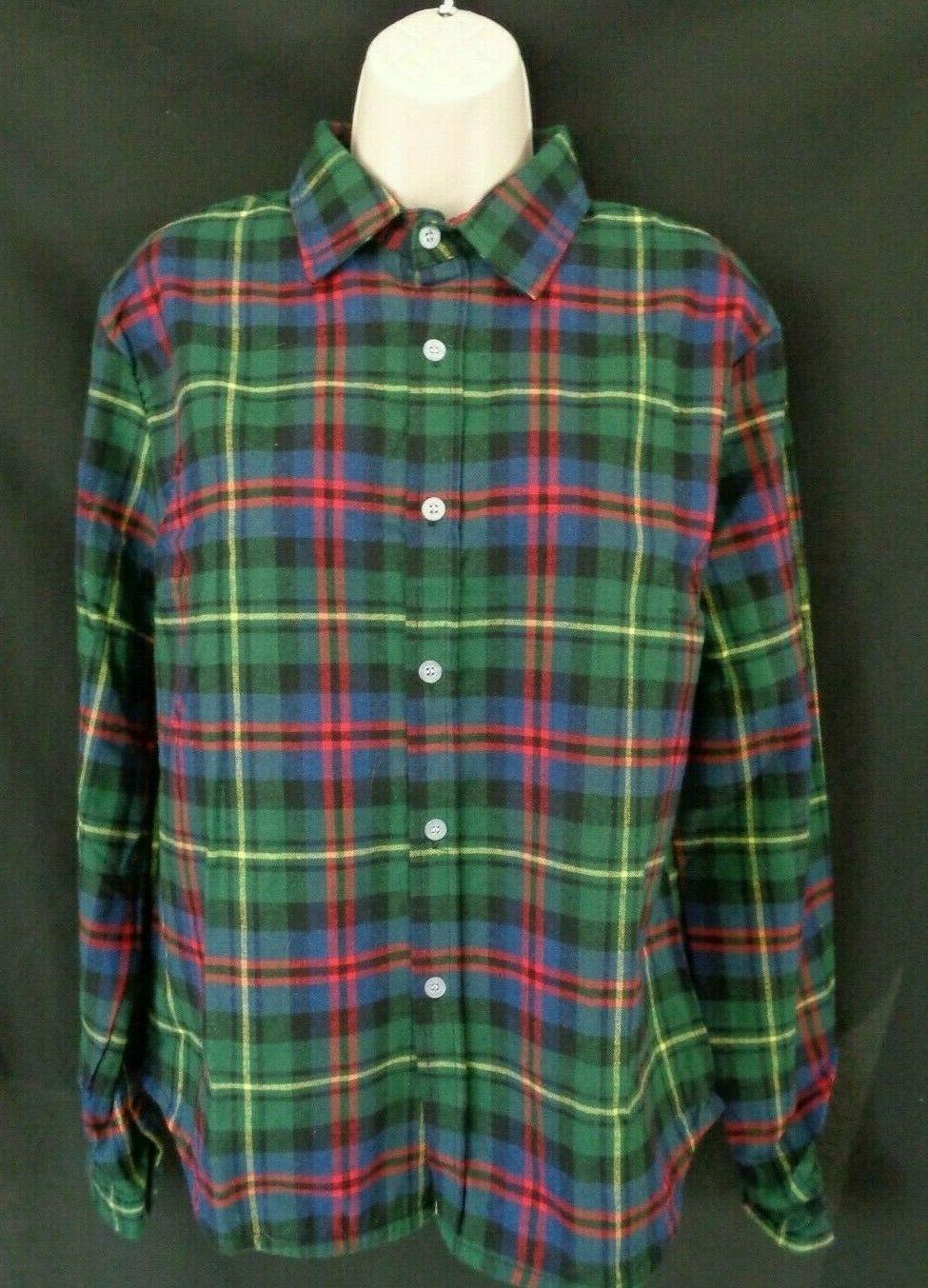 NWT Zeagoo Green multi plaid long sleeve XL
