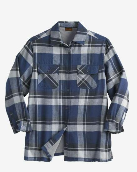 Fleece-Lined Flannel Shirt Cotton