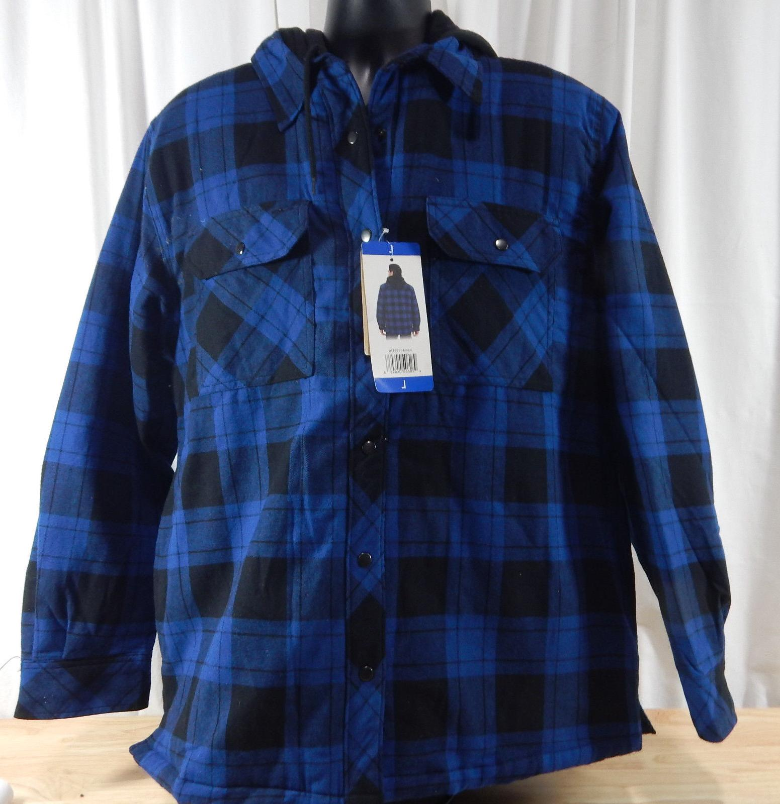 nwt men s hooded flannel shirt jacket
