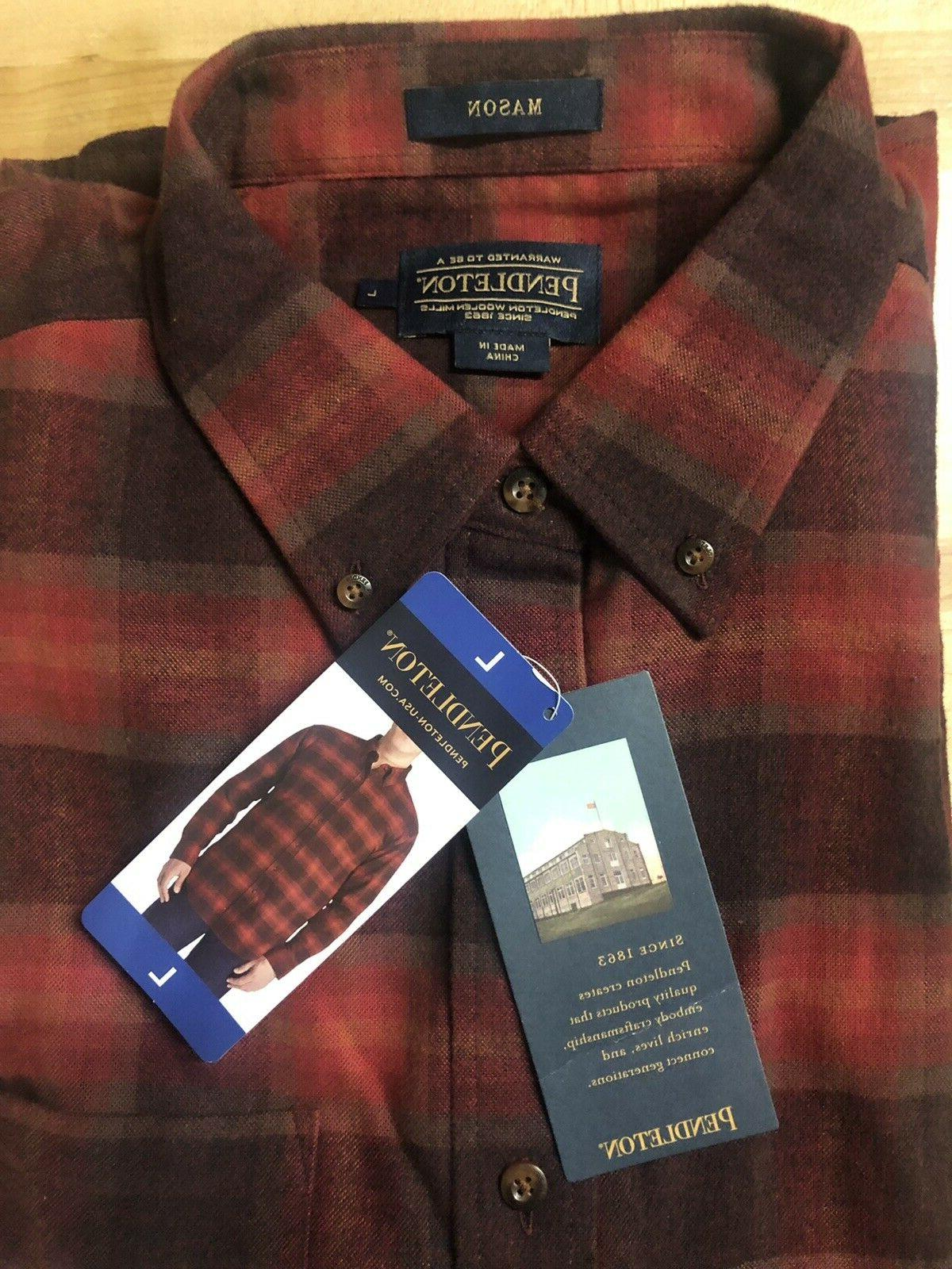 nwt mens long sleeve flannel mason shirt