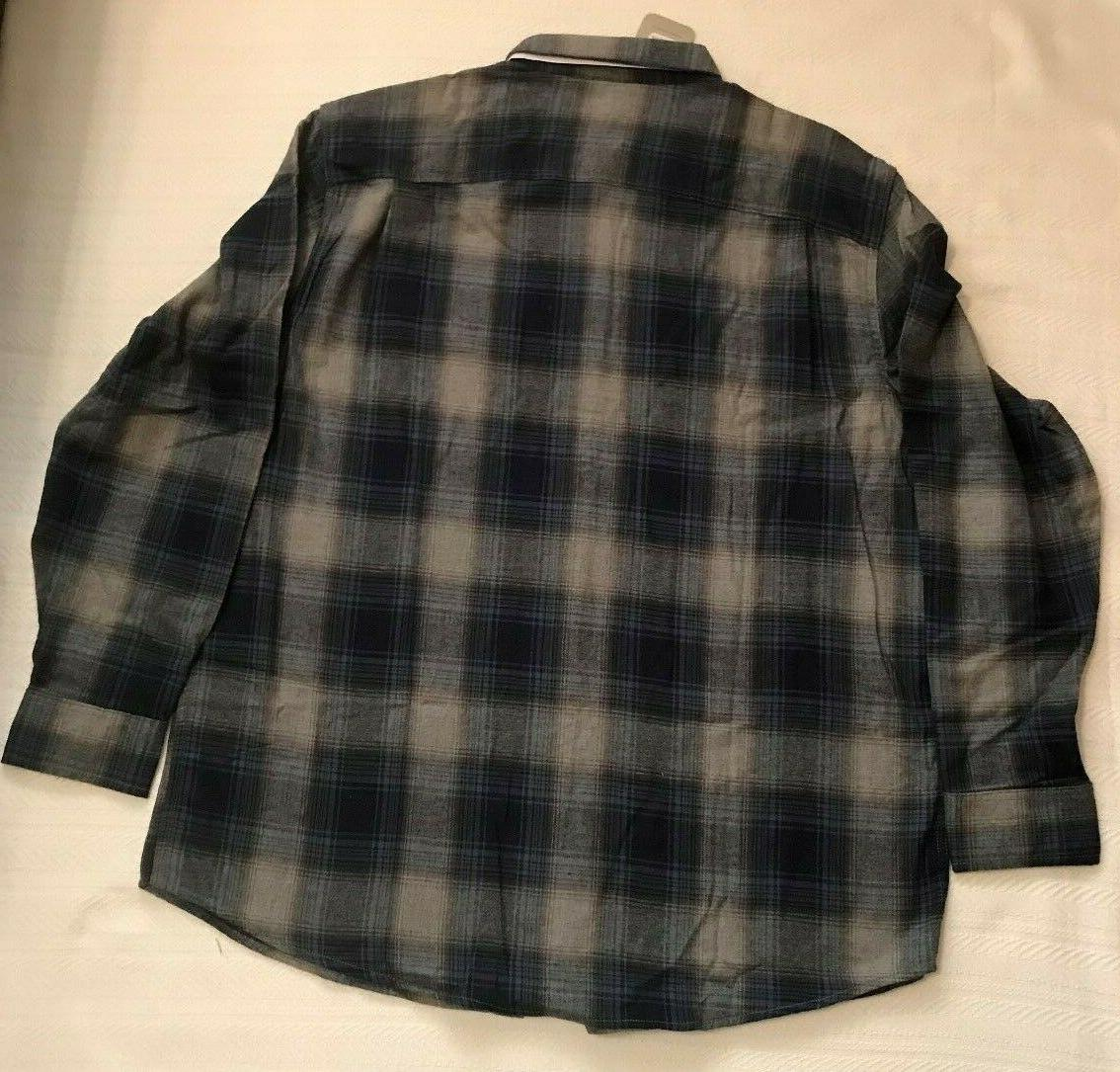NWT Shirt Size XL Gray PLAID Long Sleeve REINFORCED SEAMS