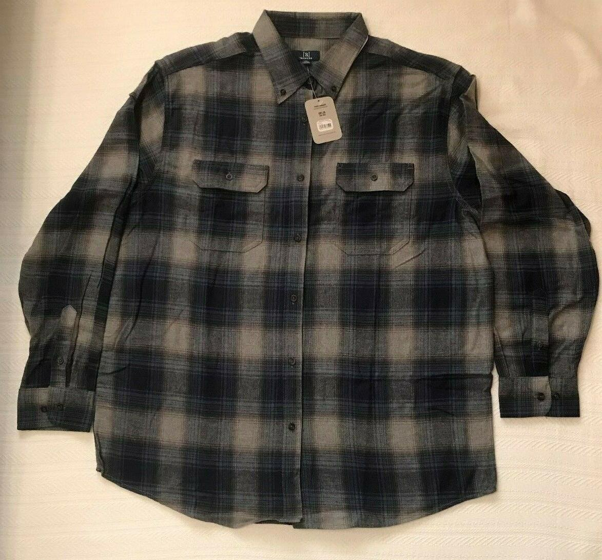 NWT Mens Size XL Blue Gray PLAID Long