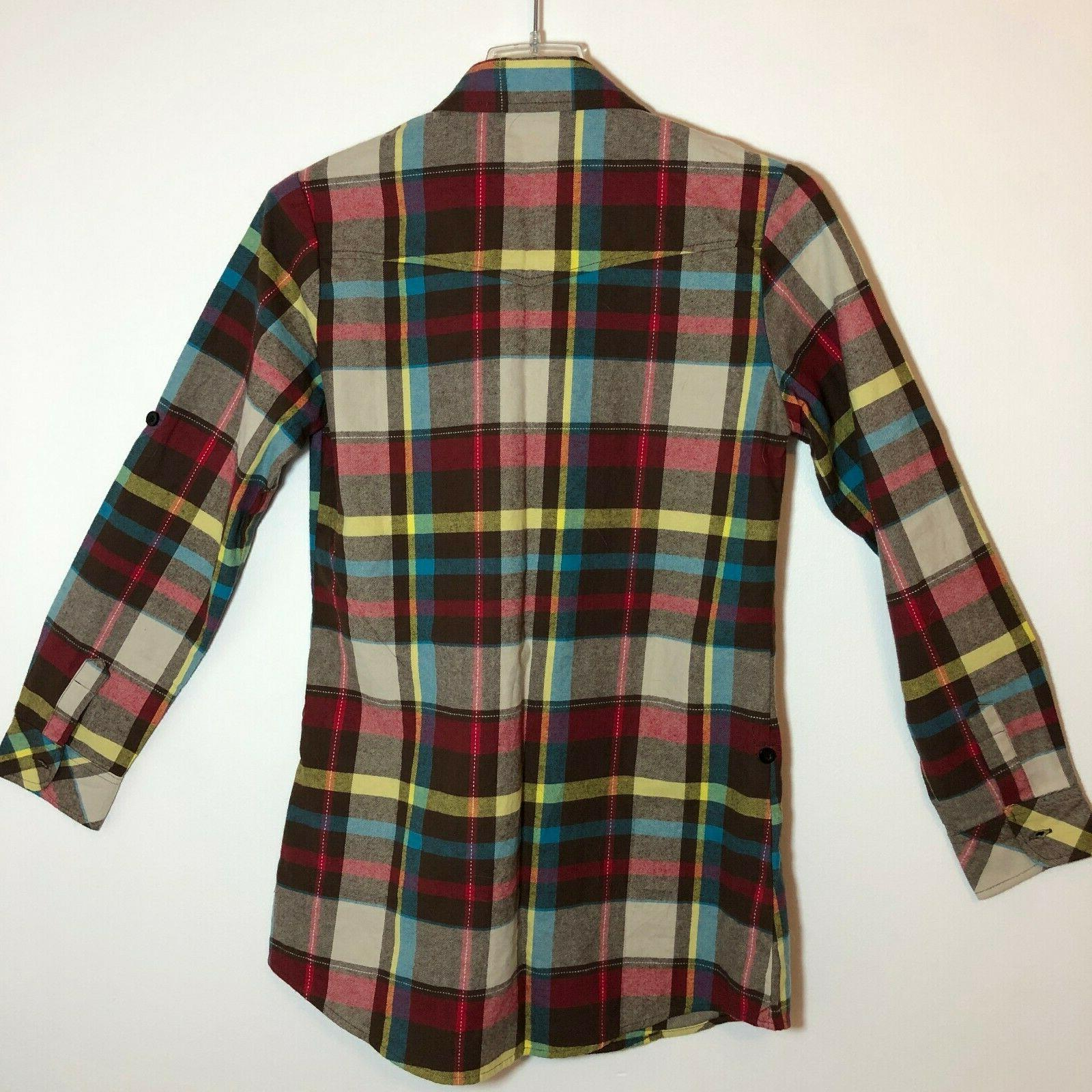 Ochenta Mens XL Brown/Red Plaid Flannel Down 0359