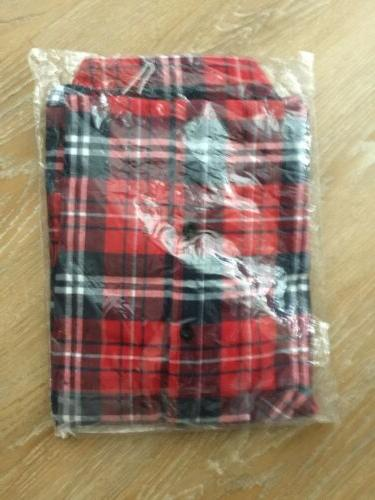 NWT: Men's Sleeve Plaid Flannel, Red,