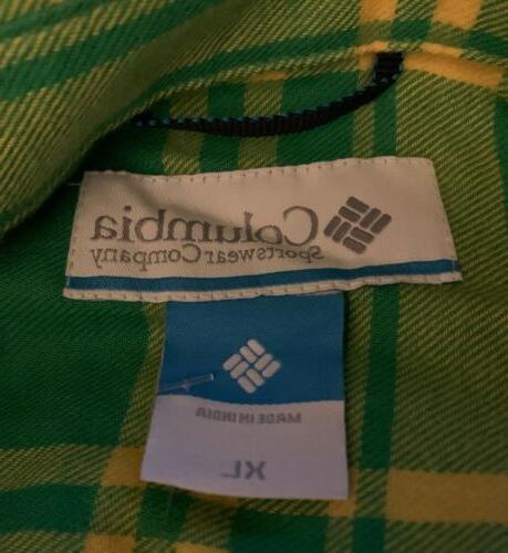 NWT Oregon Ducks Flannel Shirt Size XL Extra Large Green/Yellow R2