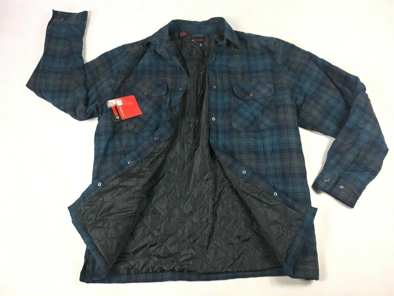 nwt quilted lined forester blue plaid flannel
