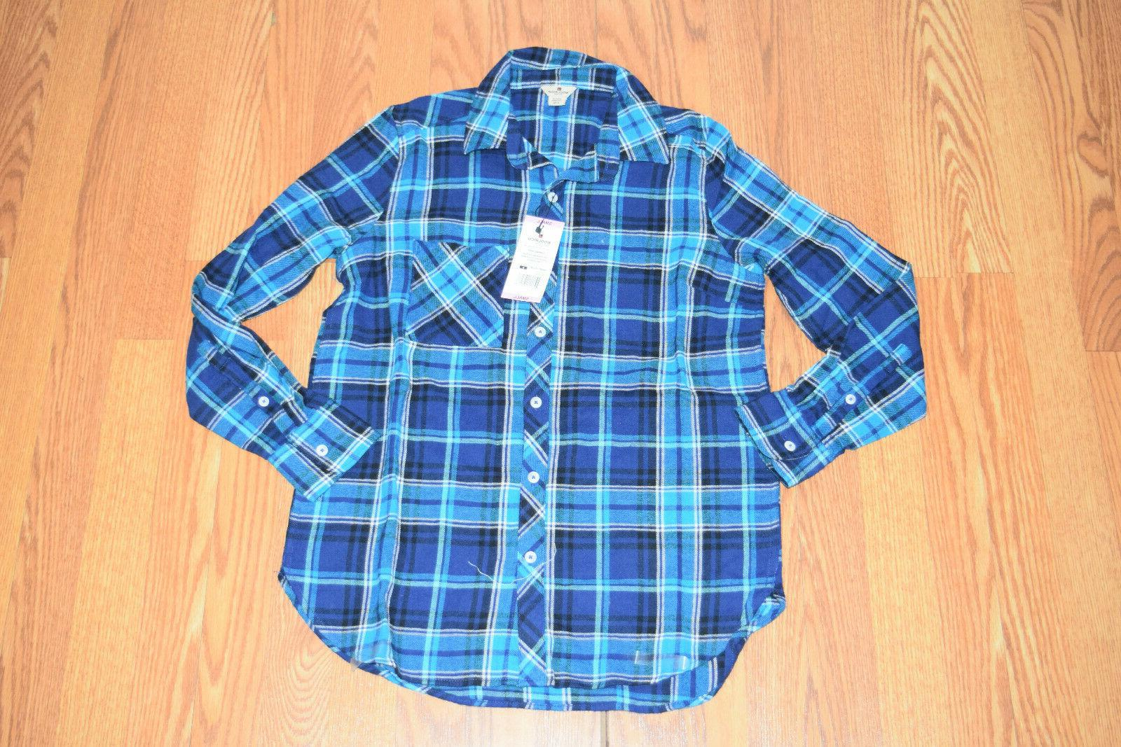 nwt womens spectrum blue plaid flannel collared