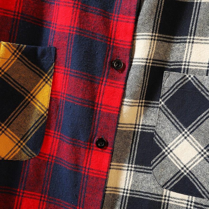 Loldeal <font><b>Flannel</b></font> trend of color <font><b>matching</b></font> men's casual loose <font><b>shirt</b></font>