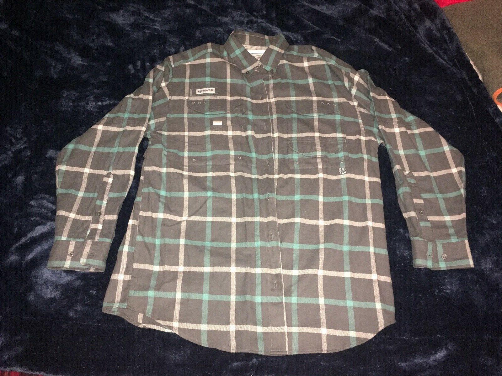 pfg bonehead long sleeved flannel mens medium