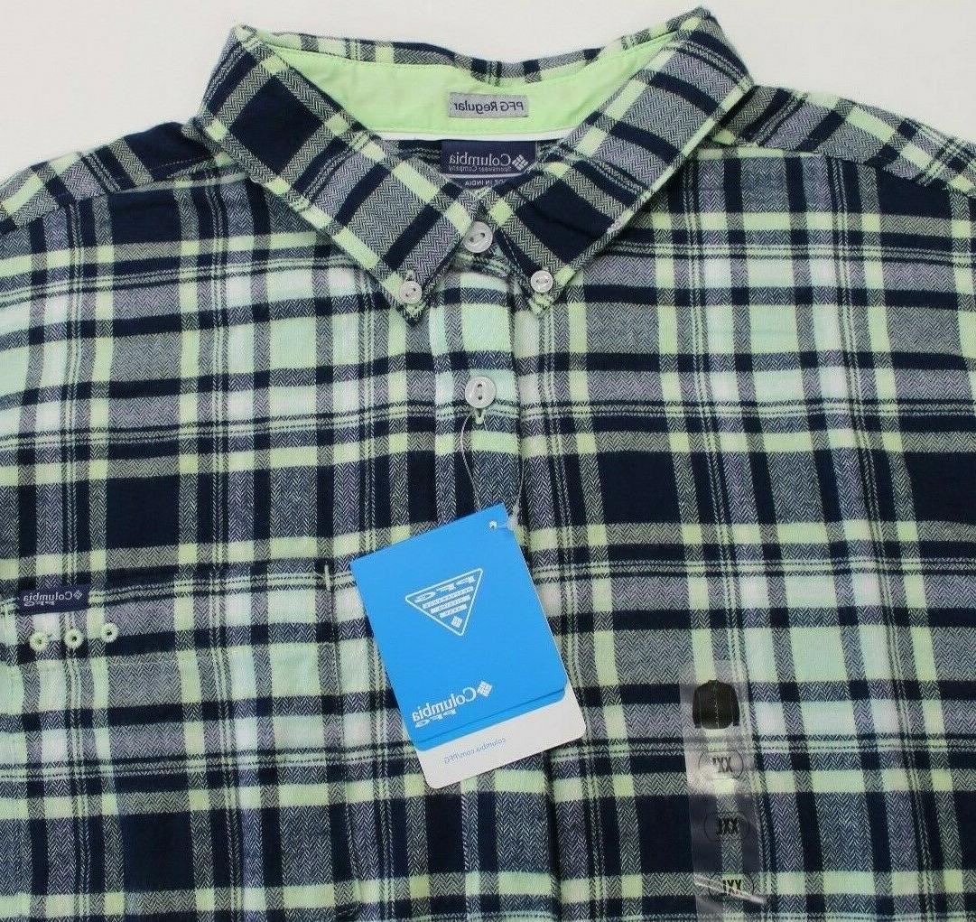 pfg harborside flannel fishing shirt plaid mens
