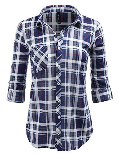plaid collared button down rollable